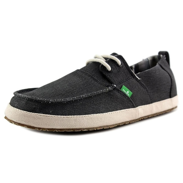 Sanuk Admiral Men Moc Toe Canvas Black Boat Shoe