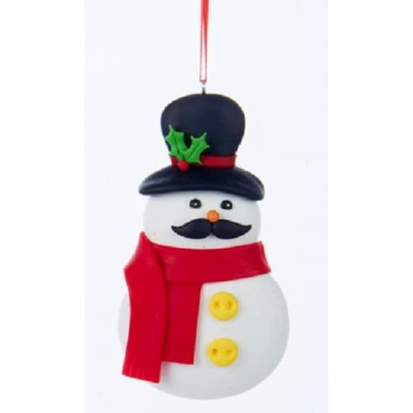 "4"" Cute Claydough Black Mustached Snowman with Red Scarf and Top Hat Christmas Ornament - WHITE"