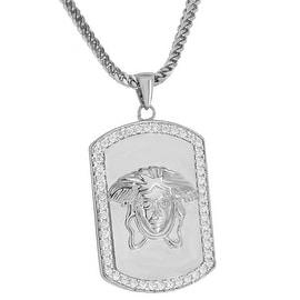 "Custom Made Mens Medusa Face Dog Tag Pendant Simulated Diamonds 18K Rhodium Finish 24"" Chain"