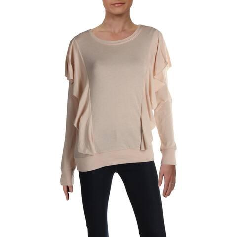 Nation by Jen Menchaca Womens Sweatshirt Ruffled Ribbed Trim - Beige - L
