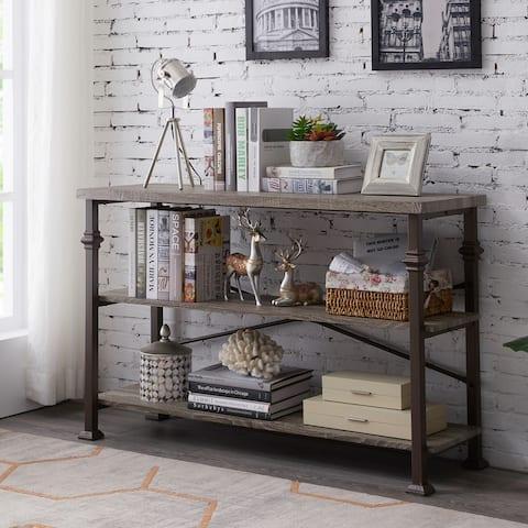 Industrial 3-Tier Console Sofa Table Storage Bookshelf