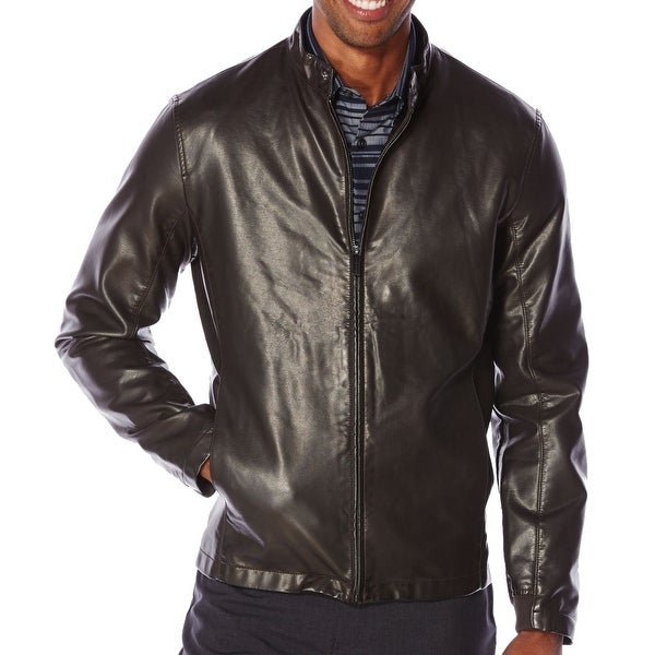 eee3009254 Shop Perry Ellis NEW Men s Black Size Medium M Faux-Leather Snap-Tab Jacket  - Free Shipping On Orders Over  45 - Overstock - 18305063
