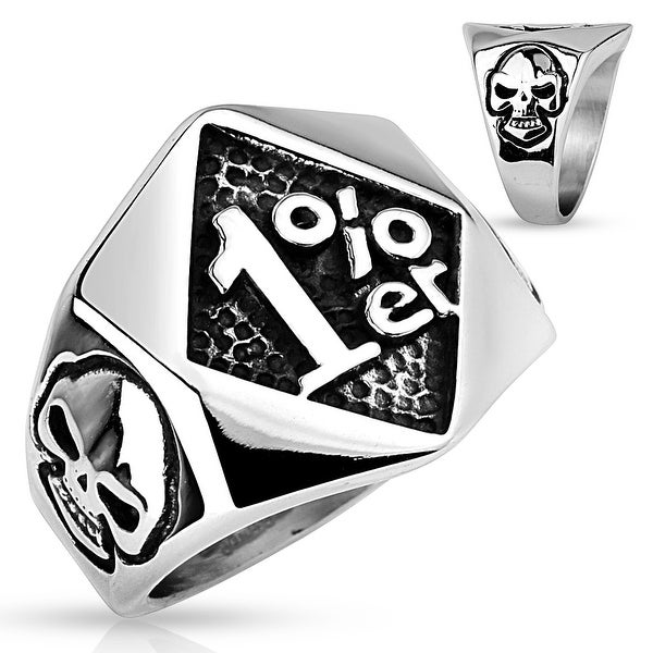 1%er with Skulls on Sides Stainless Steel Ring (Sold Ind.)