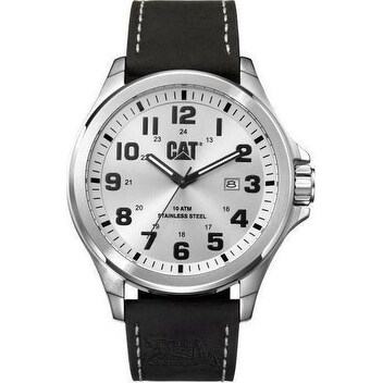 CAT Operator Date mens Analog Watch Silver and Black Nylon Strap