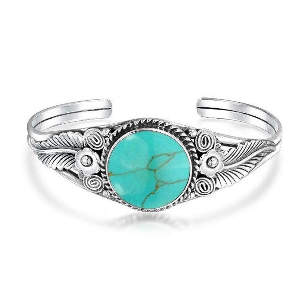 Fashion Jewelry Antique Silver Turquoise Pendant  Rhinestone Bracelet Bangle CA