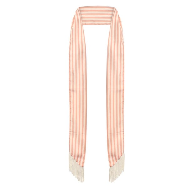 Ladies Pink Striped Skinny Scarf with Fringe