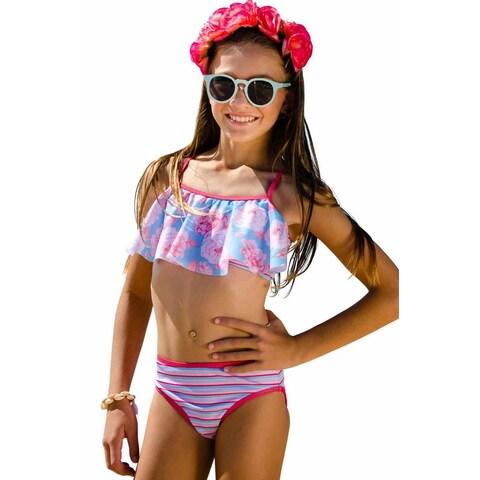 Sun Emporium Little Girls Coral Red Swing Top Action Back Bikini Set