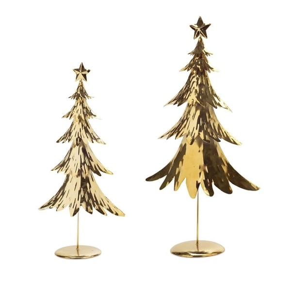 "Set of 2 Brilliant Gold Colored Metallic Standing Christmas Trees 25.5""H"