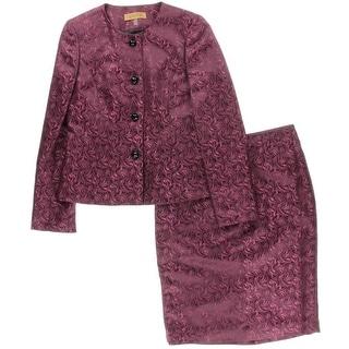 Kasper Womens Baroque Jacquard 2PC Skirt Suit