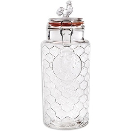 "Palais 'Rooster' High Quality Clear Glass Canister with Bail & Trigger Locking Lids (88 Oz - 11"" High)"