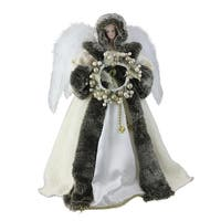 "17.5"" Ivory and Faux Fur Angel with Wreath Christmas Tree Topper - Unlit - White"
