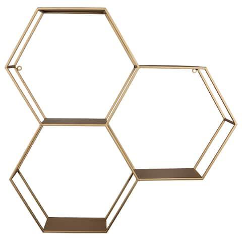 Stratton Home Decor Gold Honeycomb Hexagon Wall Shelf