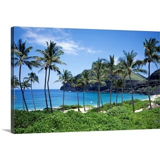 """""""Beach with palm trees"""" Canvas Wall Art"""