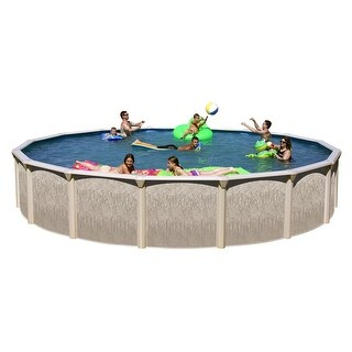 Galveston Round Above Ground Swimming Pool Package 27 ft. x 52 in.