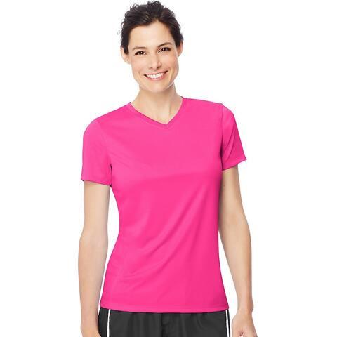 Hanes Women's Cool DRI® V-Neck T-Shirt - Size - L - Color - Neon Pink