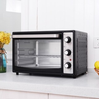 Costway 1500W Electric Toaster Oven Convection Broiler 32L Countertop with Drip Pan