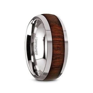 Thorsten DALBERG Tungsten Rings For Men Tungsten Wedding Ring Band With Rose Wood Inlay And Polished Beveled Edges 8mm