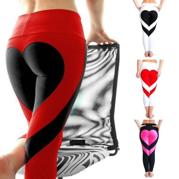 6e633f11602a2 Women's Tights Love Heart Booty Yoga Leggings Color Block Workout  Pants Trousers