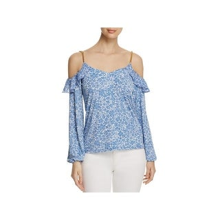 MICHAEL Michael Kors Womens Casual Top Floral Print Ruffled