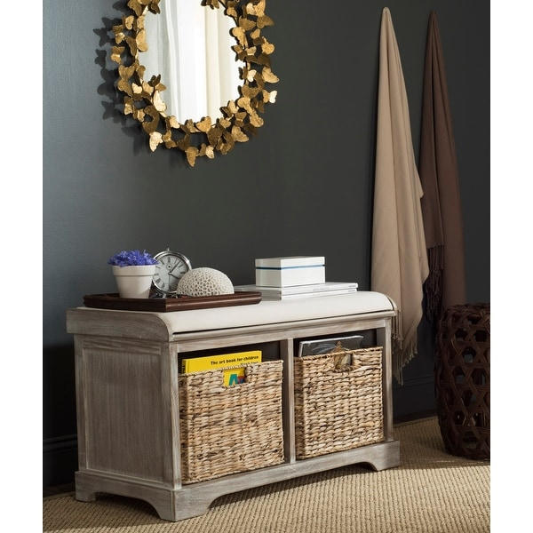 "Safavieh Freddy Winter Melody Wicker Storage Bench - 33.5"" x 16.1"" x 19.9"". Opens flyout."