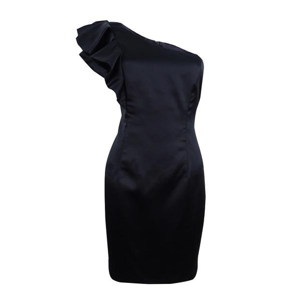 Bardot Women's Satin Ruffle One-shoulder Sheath Dress - Black