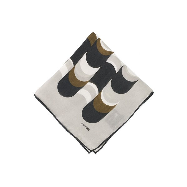 Tom Ford Pale Grey Abstract Wave Print Pocket Square