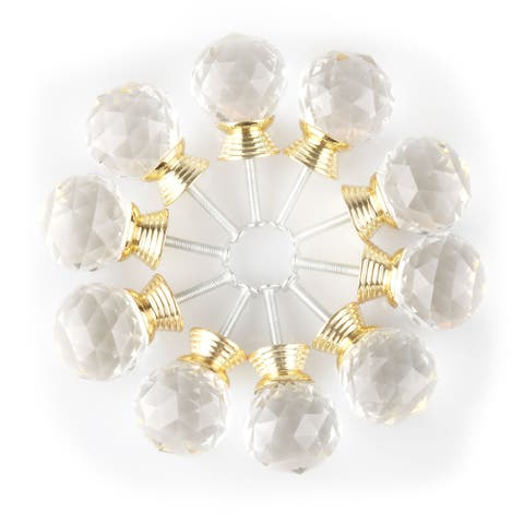 """1.18"""" Clear Crystal Glass Drawer Knobs Cabinet Pull Handle Round 10pcs - 1.18"""" x 1.18""""(D*H)"""