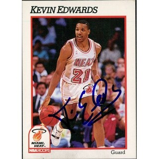 Signed Edwards Kevin Miami Heat 1991 NBA Hoops Basketball Card autographed