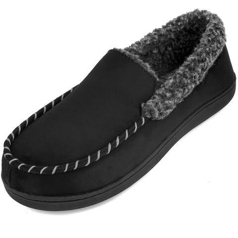 VONMAY Men's Moccasin Slippers Fuzzy House Shoes Fleece Home Slippers Indoor/Outdoor