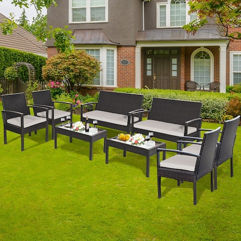 Costway 8-piece Patio Rattan Table & Chair Set with Cushion