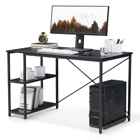 Computer Desk Modern Writing Desk with 2 Storage Shelves for Office