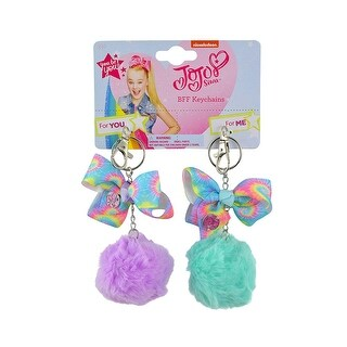 Keychain - 2pk Furball BFF Jojo Siwa - Green Pom Pom Ball Fashion Purse Punk