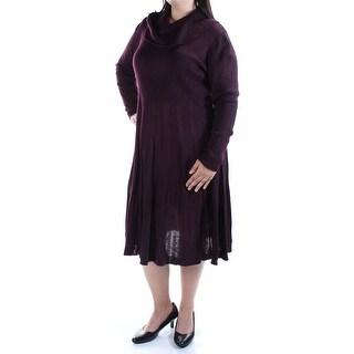 Womens Burgundy Long Sleeve Midi Fit + Flare Dress Size: 2X