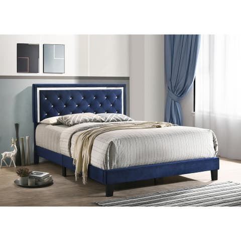 Best Quality Furniture Velvet Faux Crystal Tufted Beds with Faux Crystal Studded Border
