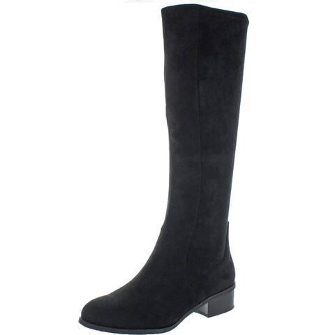 Splendid Women's Patch Suede Block Heel Knee High Tall Boot - Black Suede