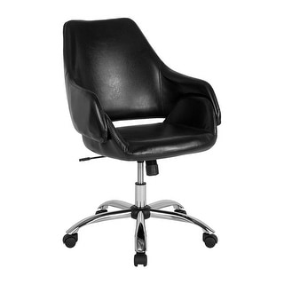 Offex Home and Office Upholstered Mid Back Swivel Chair in Black Leather