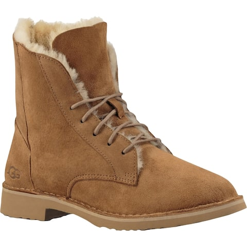 Ugg Womens Quincy Winter Boots Suede Faux Fur Lined - 6.5 Medium (B,M)