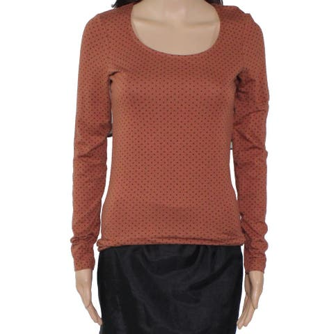 Fat Face Women's Top Brown Size 2 Knit Star Print Scoop Neck Pullover
