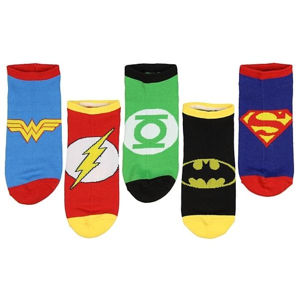 DC Comics Justice League Logos Adult 5 Pack Superhero Socks - Ankle (9-11)