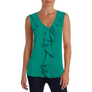 Nine West Womens Pullover Top Crepe Cascade Ruffle - l