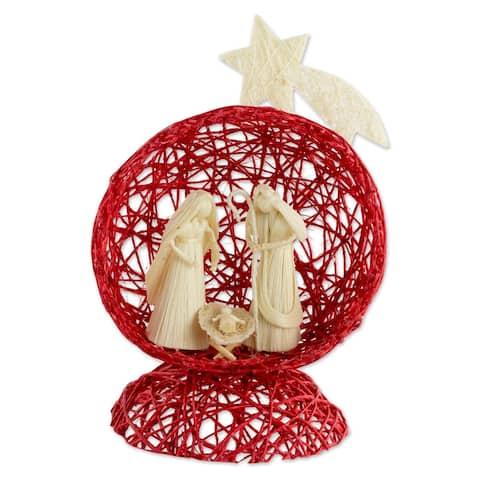 Natural fiber nativity scene, 'Star Nativity in Red'