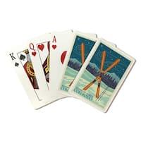 Steamboat Springs CO - Crossed Skis - LP Artwork (Poker Playing Cards Deck)