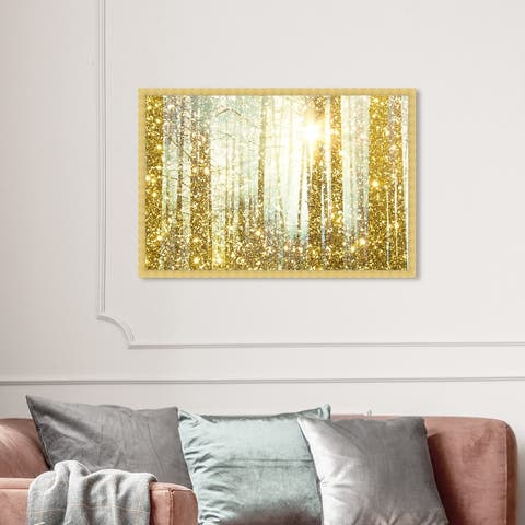 Oliver Gal 'Magical Forest' Nature and Landscape Framed Wall Art Prints Forest Landscapes - Gold, Yellow