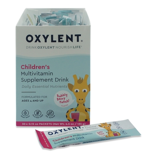 Oxylent Childrens Bubbly Berry Punch Multivitamin Supplement Drink 30 Count Box