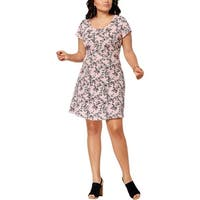Fox & Royal Womens Plus Casual Dress Floral Print Shift