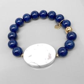 Blue Jade 'Eye Candy' stretch bracelet 14k over Sterling Silver