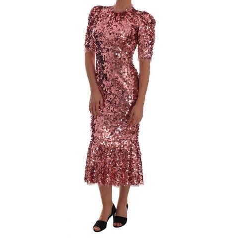 Pink Sequined Sheath Knee Men's Gown