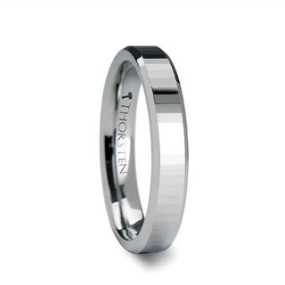 TURIN Beveled Edge Tungsten Ring with Narrow Rectangular Facets - 4mm