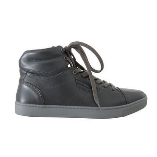 Dolce & Gabbana Gray Leather Mens High Top Sneakers