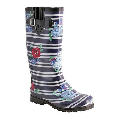 Nomad Women's Puddles Boot Navy Stripes with Roses